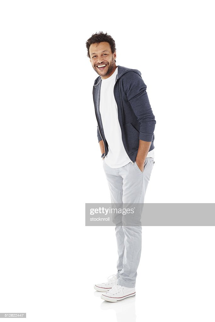 Cheerful african man on white : Stock Photo