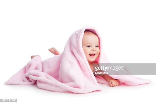 Cheerful baby in white background
