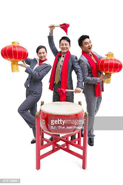 Cheerful business colleagues celebrating Chinese New Year