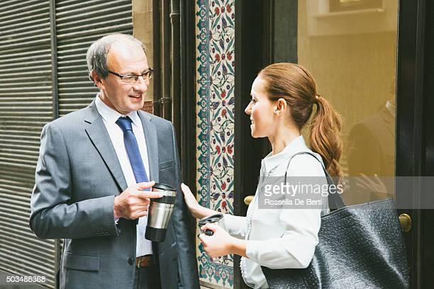 Cheerful Business People During Coffee Break