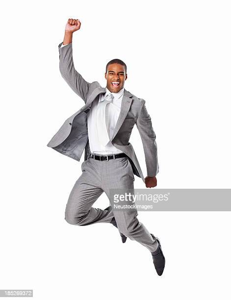 Cheerful Businessman Jumping - Isolated