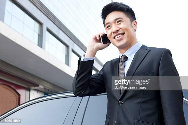 Fröhlich Geschäftsmann am Telefon neben einem Auto