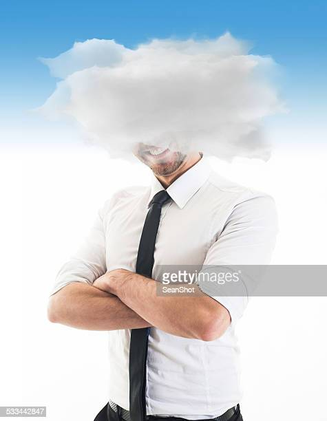 Cheerful Businessman with Heads in the Clouds