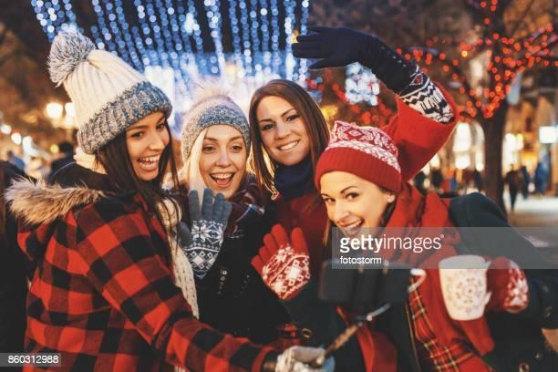 Cheerful Christmas selfie