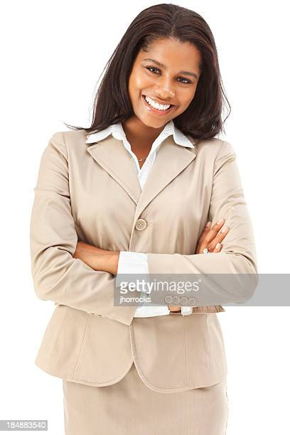 cheerful confident young african american businesswoman - gesturing stock pictures, royalty-free photos & images