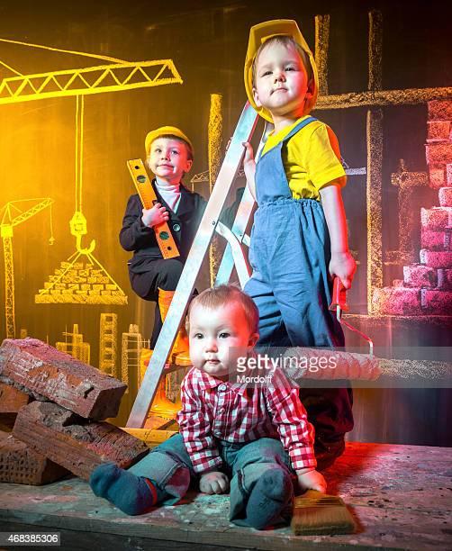 Cheerful construction team