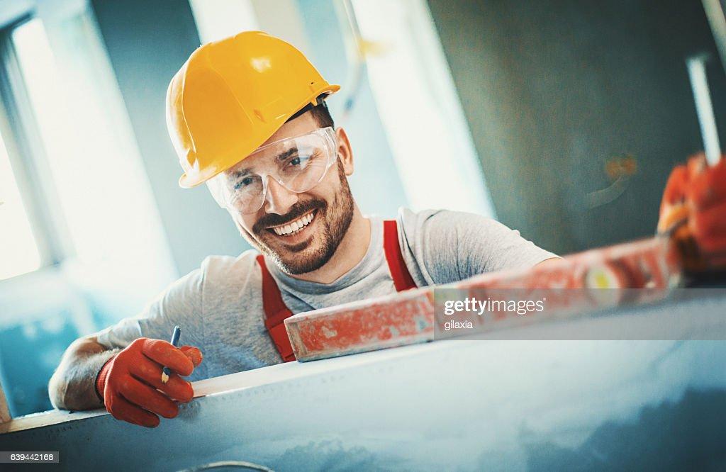 Fröhlich Bauarbeiter. : Stock-Foto