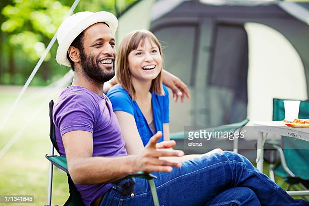 Cheerful Couple On Camping Trip