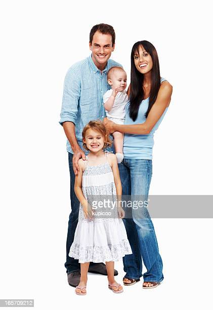 Cheerful couple with their daughters