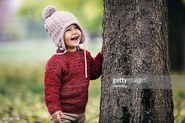 Cheerful cute child in the park