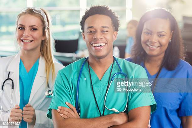 Cheerful diverse group of medial students