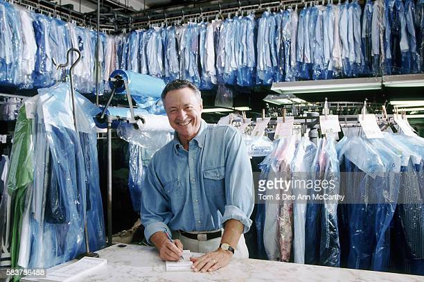 A cheerful dry cleaner