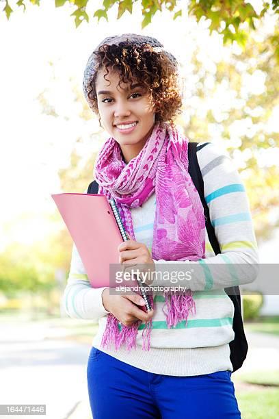 Cheerful ethnic student