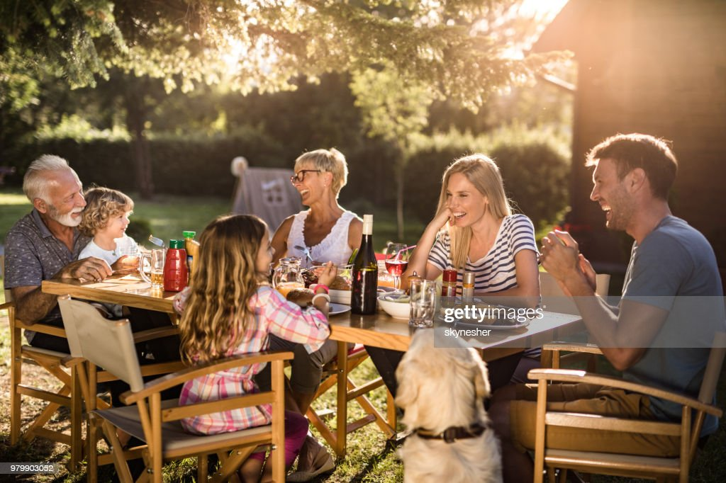 Cheerful extended family enjoying in conversation during lunch time in the backyard. : Stock Photo