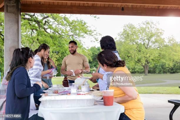 a família alegre aprecia o piquenique no dia ensolarado - aunt - fotografias e filmes do acervo