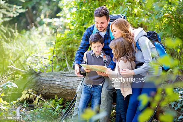 Cheerful Family Hike in Forest.