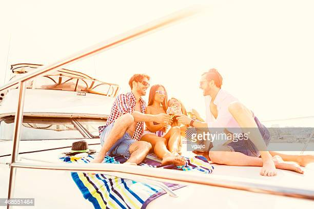 Cheerful Friends Have Party on Yacht.