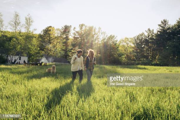 cheerful friends walking on grassy field - ワイドショット ストックフォトと画像