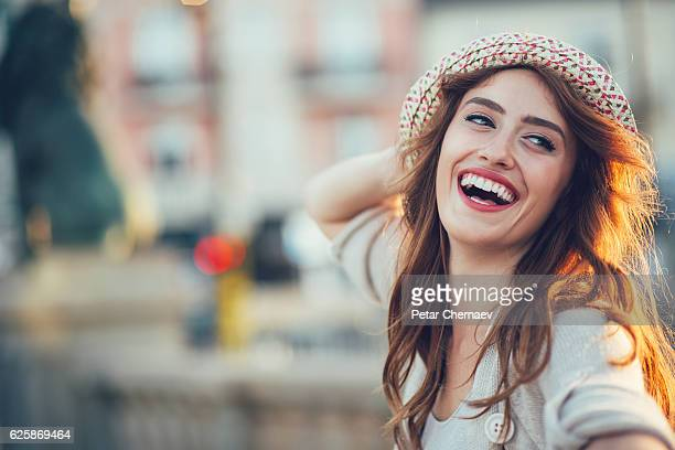 Cheerful girl posing for a selfie