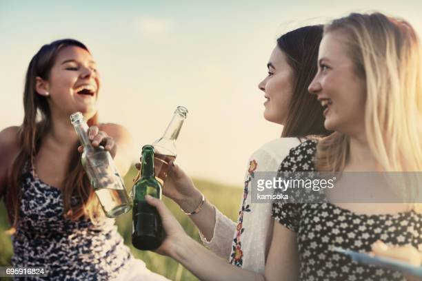 Cheerful girlfriends toasting beer bottles during Summer BBQ
