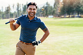 Cheerful golf player