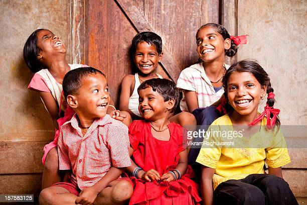 Cheerful Group of Six Rural Indian Children