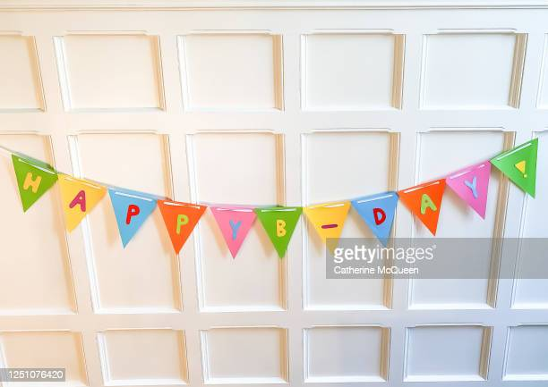 cheerful homemade happy birthday banner - queen's birthday - fotografias e filmes do acervo