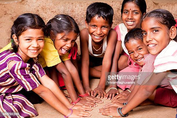cheerful indian children playing in maharashtra - indian culture stock pictures, royalty-free photos & images