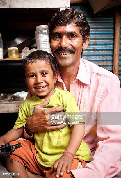 Cheerful Indian Father and Son