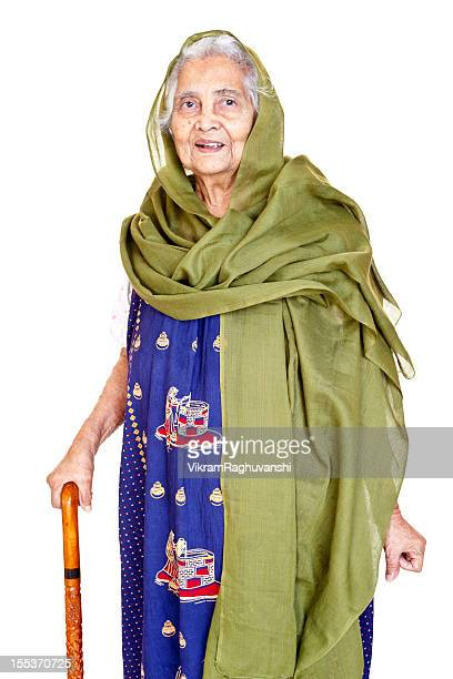 Cheerful Indian Senior Aged Woman with Walking Stick
