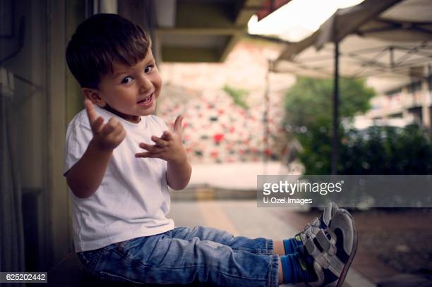 cheerful little boy outdoors portrait - funny turkey images stock photos and pictures