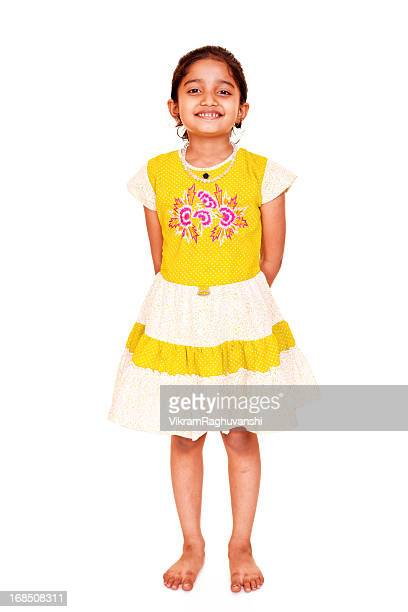 Cheerful Little Indian Girl Full Length Isolated Portrait