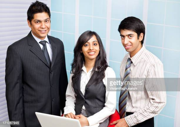 Cheerful Male Female Indian Business Person People Communicating Using Laptop