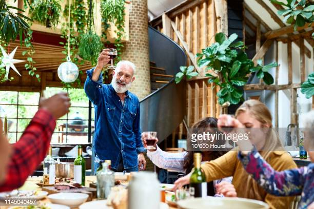 cheerful man raising glass to make a toast with friends - stepfamily stock photos and pictures