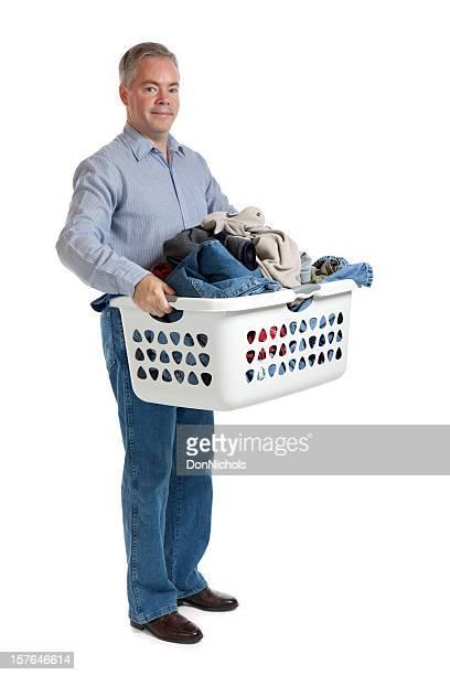 Fröhlich Mann mit Wäscherei