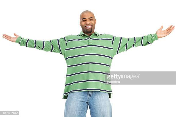 cheerful man with open arms - long sleeved stock pictures, royalty-free photos & images