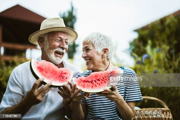 cheerful mature couple having fun while eating watermelon during picnic day in nature. - watermelon stock pictures, royalty-free photos & images
