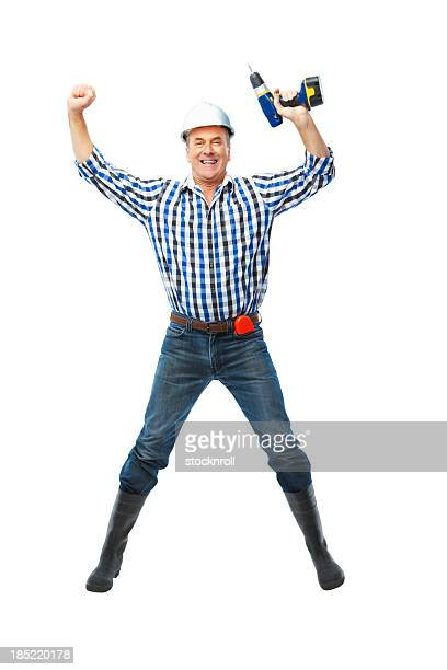 Cheerful mature handy man isolated on white