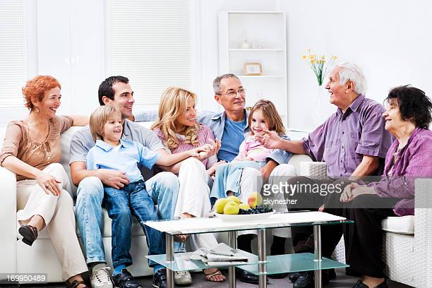 Cheerful Multi Generation Family enjoying at home.