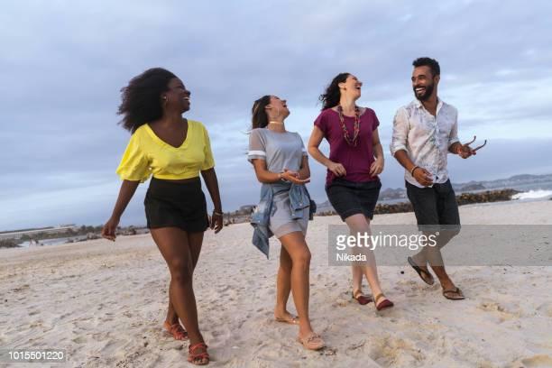 fröhliche multiethnischen Freunde zu Fuß am Strand gegen Himmel
