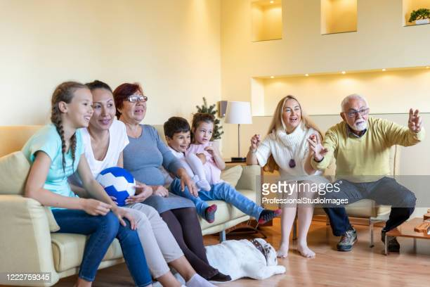 cheerful multi-generation family is supporting national soccer team at home. - chinese bulldog stock pictures, royalty-free photos & images