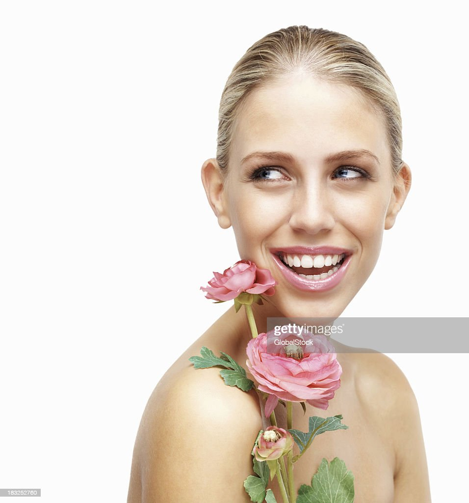 Cheerful Naked Young Girl Holding Flowers Against White Stock Photo  Getty Images-5376