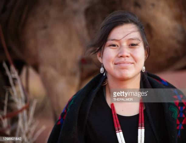 cheerful navajo woman portrait - india imagens e fotografias de stock