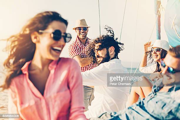 cheerful people on a yacht - nautical vessel stock photos and pictures