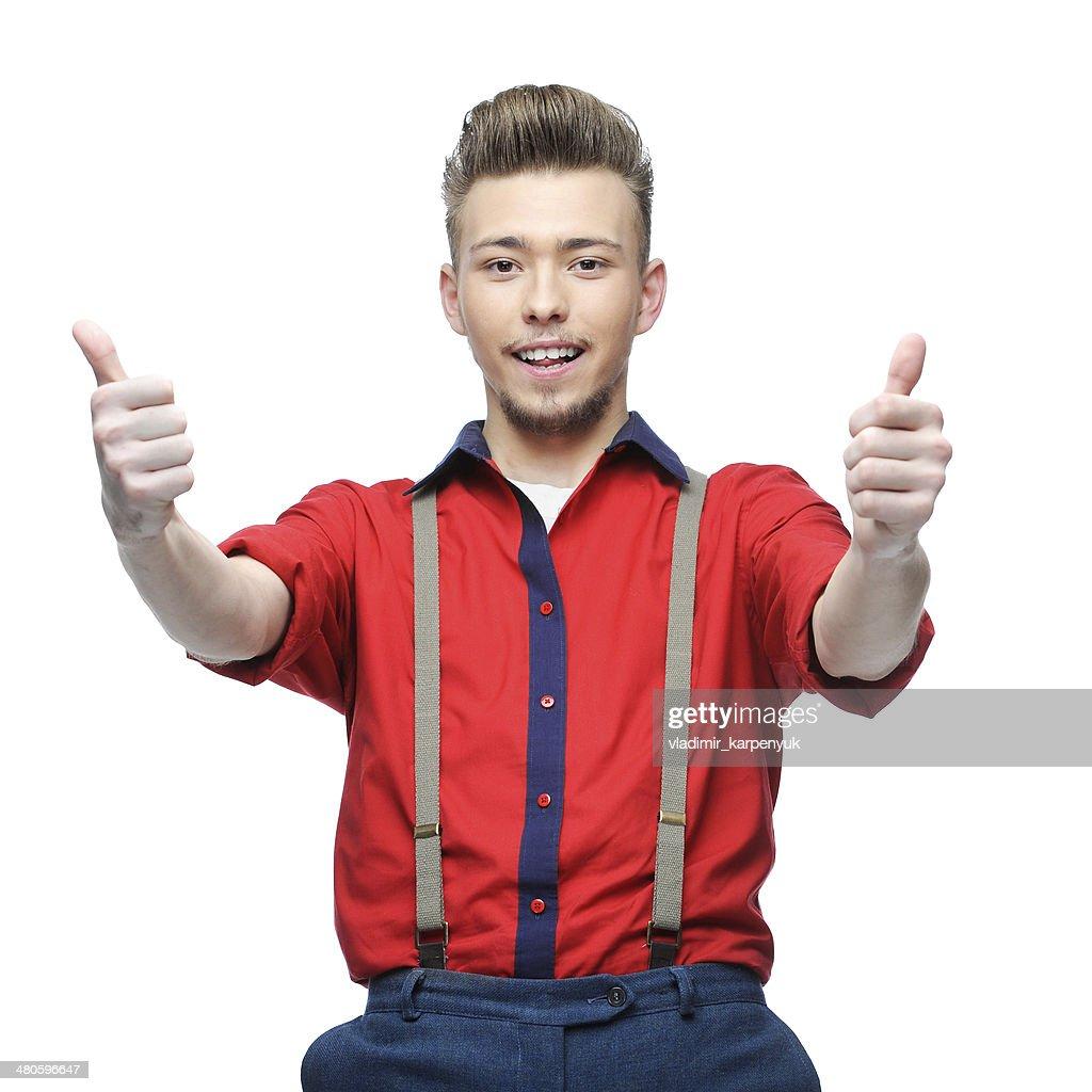 cheerful retro man showing ok : Stock Photo