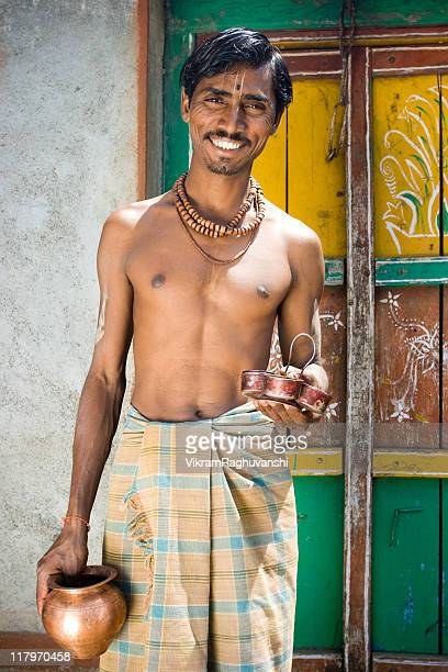cheerful rural indian brahmin - brahmin stock pictures, royalty-free photos & images