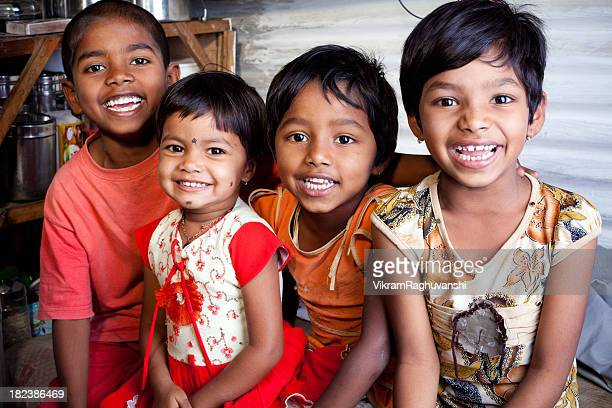 Cheerful Rural Indian Children Siblings
