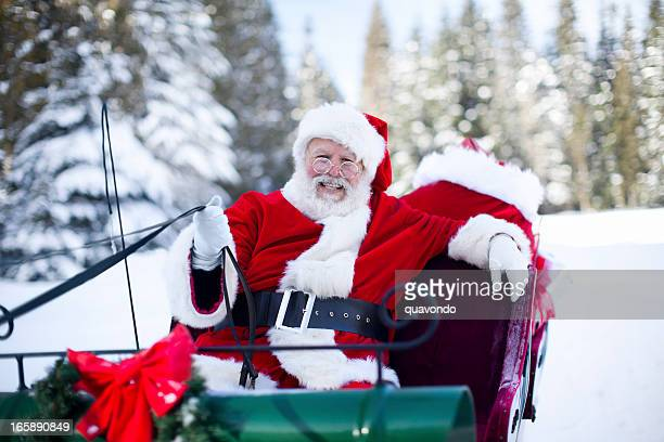 cheerful santa claus on sleigh in snow, copy space - sleigh stock photos and pictures