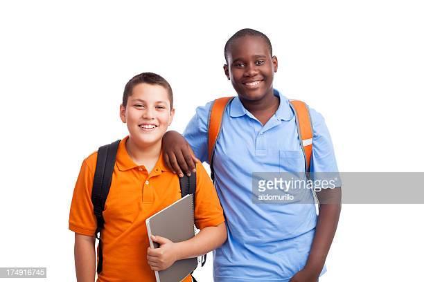Cheerful schoolboys