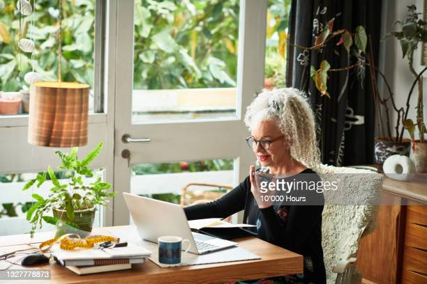 cheerful senior businesswoman speaking on smart phone in front of laptop - working seniors stock pictures, royalty-free photos & images